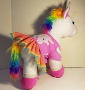 Build A Bear Rainbow Unicorn Stuffed Plush Animal Toy  w/  Tutu  Skirt & Top BAB