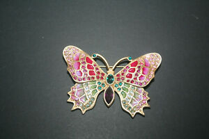 Jay Strongwater  Butterfly Enamel and Swarovski Crystal Brooch