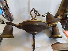 ANTIQUE BRASS CHANDELIER, 2 LIGHT, NO SHADES, CEILING FIXTURE 1900'S,  1 OF 3