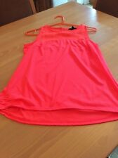 ladies clothes size small H&M Bright Pink Sleeveless Flared Tunic Vest Top