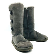 Ugg Australia Bailey Button Triplet Gray Boots Womens Size 10