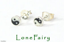 Sterling Silver Yin Yang Novelty Stud Earrings Quality Round Logo 6mm