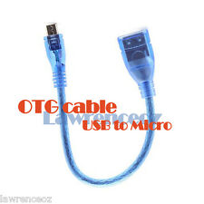 Blue Shielded Micro USB Host OTG Cable Cord for Android Phones Flash Disk Sync