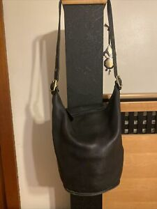 Vintage COACH XL Duffle Black Leather Shoulder Bucket Hobo Purse Bag 9085 USA