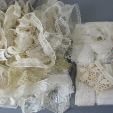 """Lot Antique French LACE Trims 3/8""""- 1"""" Wide VALENCIENNES + Embroidered * DOLLS"""