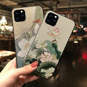 Embossed Dragonfly Lotus Bird Flower Soft Case for iPhone 13 12 11 Max X XS XR