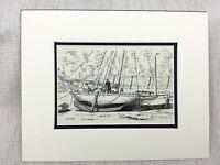 Original Tinte Zeichnung Sketch Bild Ilfracombe Devon Portishead Segeln Signiert