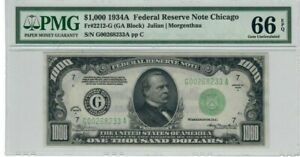 United States Federal Reserve Note Chicago $1000 1934A PMG 66 GEM UNC EPQ