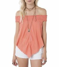 O'Neill DEZI Womens Off the Shoulder Tank Top Size Small Coral NEW 2017