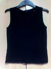 Gilet-Vest Black Wool Mix BEADED CROCHET Trim Women's GIRL'S LADIES UK sz 8