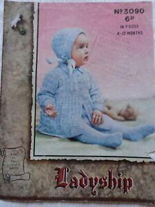 Original 1940's Knitting Pattern Baby Pram Set Ladyship 3090 Free P & P