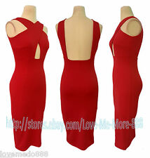 Sexy Sleevless Strap Cross Front Backless Clubwear Party Bodycon Dress RED Large