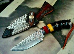 Drop Point Knife Japanese Hunting Tactical Combat Hand Forged Damascus Steel Cut