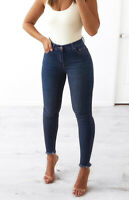 WAKEE BLUE HIGH RISE SKINNY LEG JEANS WITH FRAYED HEM. SIZE 6-16