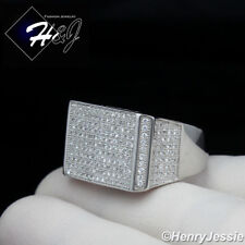 MEN 925 STERLING SILVER ICY DIAMOND BLING RECTANGLE RING*SR76