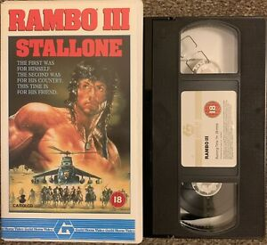 RAMBO 3-VHS VIDEO SMALL BOX/ORIGINAL GUILD HOME VIDEO.