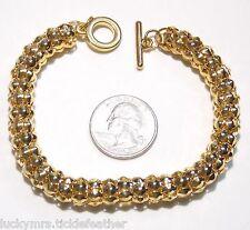 "Wide Chunky Mesh Tube Bracelet, Goldtone, Toggle Clasp, 7 5/8"", Lightweight, NEW"