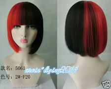 Ladies Red Black mix Bob wig Straight Natural Hair Women  COSPLAY Wigs + wig cap