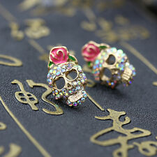 Fashion Cute Pink Rose Rhinestone Skeleton Skull Studs Earrings For Halloween