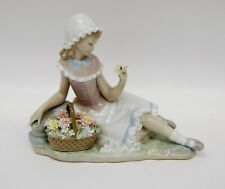 Lladro Porcelain Figurine #4907 Admiration Retired Girl Flower Basket B4362