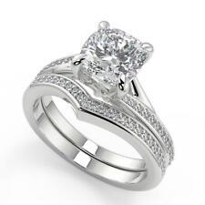 1.95 Ct Cushion Cut Bypass Micro Pave Modern Diamond Engagement Ring Set SI2 H