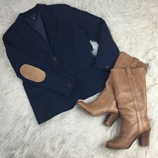 TOMMY HILFIGER Size Large Navy Blazer Suit Jacket  Elbow Patch Tan 100% Cotton
