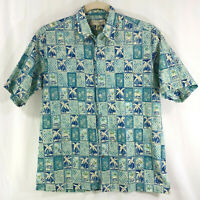 Tori Richard Shirt Mens M Blue Aqua Palms Tropical Hawaiian Camp Aloha Lawn USA