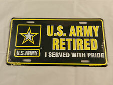 U.S. ARMY RETIRED  with Star Logo Military - Metal Novelty License Plate Sign