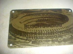 ST. LOUIS BUSCH   Stadium seat PLAQUE