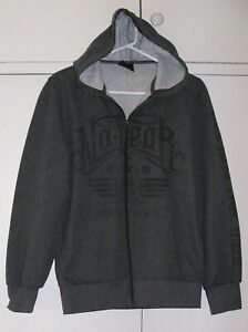 NO FEAR Grey HOODIE Fleecy Sweatshirt HOODIE Zip up Pocket JACKET sz XS