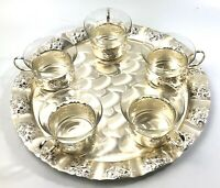 Vintage Quist Silver Plated Serving Platter Tray With 5 Tea/Punch Cups Germany