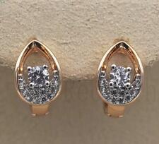 18K Yellow Gold Filled Zircon Topaz Ear Hoop Diamond Tyle Pear Heart Earrings DS