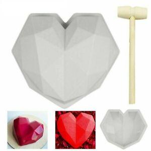 Silicone 3D Heart Shape Cake Mould Geometric Baking Mould Chocolate + Hammer UK