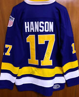 Hanson Brothers #17 Charlestown Chiefs Slap Shot Movie Hockey Jersey Blue