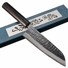 Master Shinji PRO Hammered Damascus AOGAMI Blue Steel Santoku Knife Japan