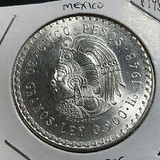 1948 MEXICO SILVER 5 PESOS BRILLIANT UNCIRCULATED CROWN COIN