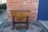English Antique Oak Small Drop Leaf Table | Living Room Furniture