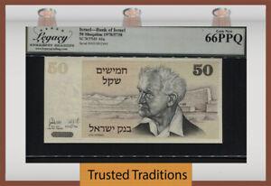 TT PK 46a 1978 ISRAEL BANK 50 SHEQALIM DAVID BEN-GURION LCG 66 PPQ GEM UNC.