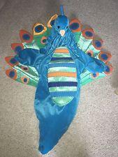 Plush PEACOCK COSTUME 0-6M Babystyle Baby Halloween Turquoise Blue Hood Bunting