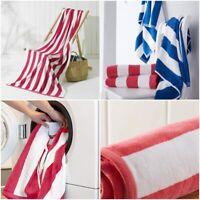 2 x 100% Cotton Beach Towels Swimming Pool Towel Cabana Stripe Large Bath Sheet