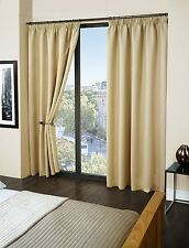 Thermal Pencil Pleat Blackout Curtains 9 Modern Colours and 8 Sizes Beige 45 X 90
