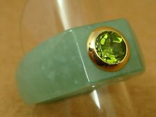 Green Jade with 3/4 CT Round PERIDOT in 14K YG Ring - Size 10
