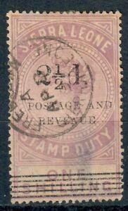 Sierra Leone 1897 21/2d on 1s Italic N Flaw Very Fine Used (Thin) SG66a CV £1400