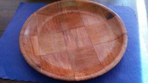 """(FOUR PLATES) 10"""" WOOD WEAVE DINNER PLATE DISHWASHER SAFE/TOXIC SAFE/RESTAURANTS"""