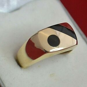 14K YELLOW GOLD AND BLACK ONYX MEN'S RING