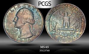 1956 Washington Quarters PCGS MS65 Exquisite Multi Color Toned Unc Bu Coin
