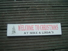 Wooden christmas xmas personalised free standing sign shabby vintage  plaque