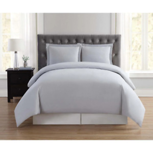 Full/Queen Duvet Cover Set Microfiber Solid Polyester Silver Grey (3-Piece)