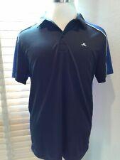 J LINDBERG Black Blue Colorblock Golf Polo Shirt Size L     P11288