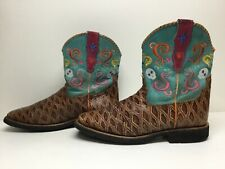 New listing Vtg Womens Ariat 4Lr Square Toe Cowboy Anteater Print Brown Boots Size 6